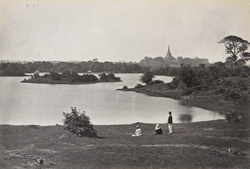 The Lake, Rangoon, with Shoay Dagon in the distance